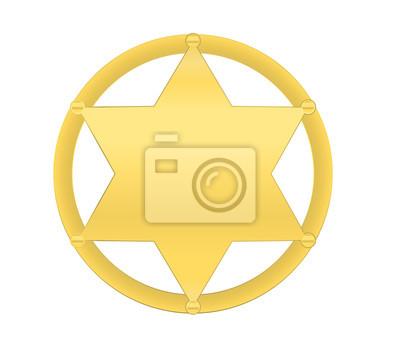vector golden sheriff star isolated