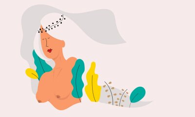Wall mural Vector illustration of a beautiful naked woman.