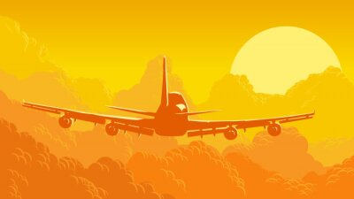 Wall mural Vector illustration of sky and clouds with flying aircraft.