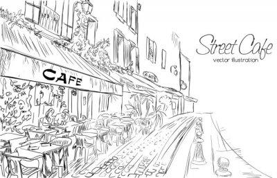 Wall mural Vector illustration of street cafe