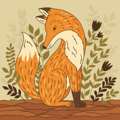 Wall mural Vector illustration with fox