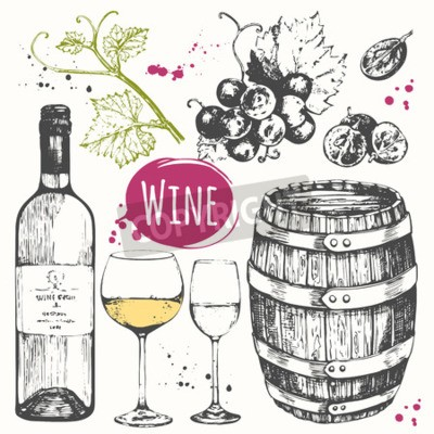 Wall mural Vector illustration with wine barrel, wine glass, grapes, grape twig.  Classical alcoholic drink.
