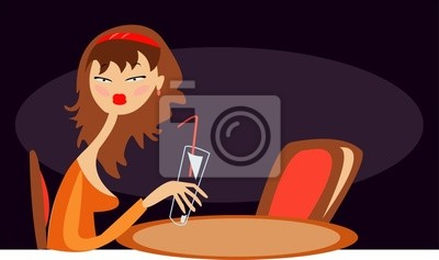 vector image of bored lonely girl in cafe