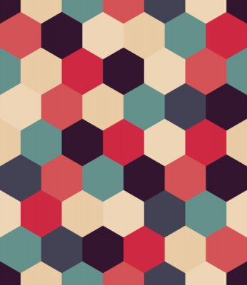 Wall mural Vector modern seamless colorful geometry hex pattern, color abstract geometric background, pillow multicolored print, retro texture, hipster fashion design