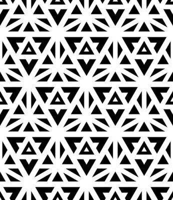 Wall mural Vector modern seamless pattern sacred geometry ,black and white textile print, abstract texture, monochrome fashion design