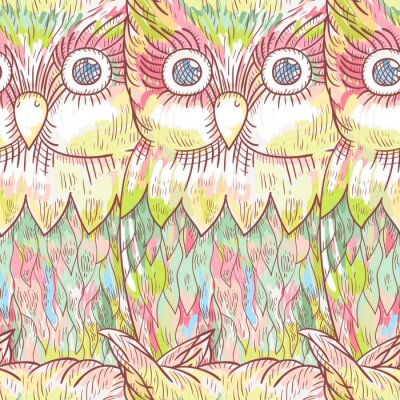 Wall mural Vector owl seamless pattern. Abstract  cute bird background.