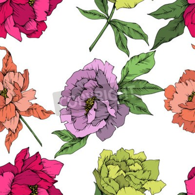 Wall mural Vector Peony floral botanical flower. Wild spring leaf wildflower isolated. Engraved ink art. Seamless background pattern. Fabric wallpaper print texture.