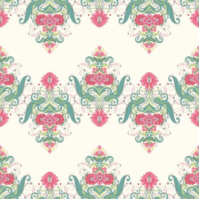 Wall mural Vector seamless background. Beautiful oriental floral pattern consists of borders. Delicate green and pink.