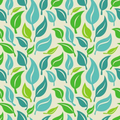 Wall mural Vector seamless background with green and blue  leaves