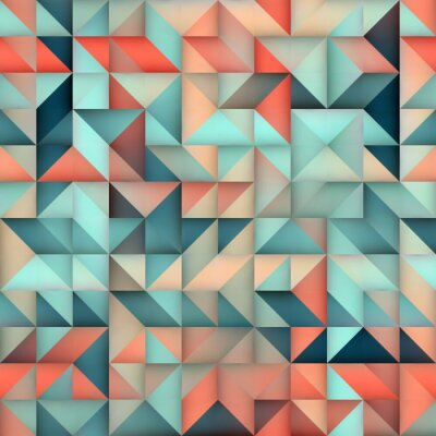Wall mural Vector Seamless Blue Pink Gradient Triangle Irregular Grid Square Pattern