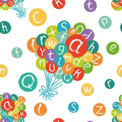Wall mural Vector seamless pattern - funny english alphabet. Hand drawn chalk like letters in colorful circles.