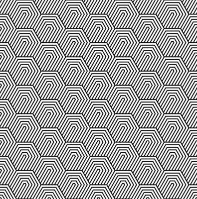 Wall mural Vector seamless pattern. Modern stylish texture. Monochrome geometric pattern with hexagonal tiles.