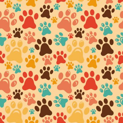 Wall mural Vector seamless pattern with animal paws