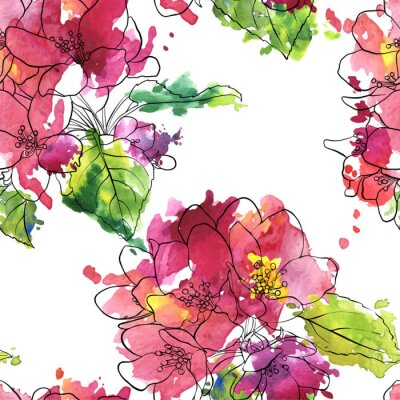 Wall mural vector seamless pattern with apple blossoms