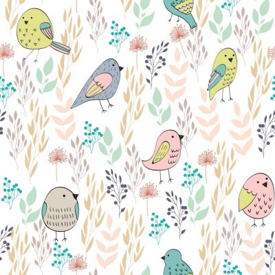 Wall mural Vector seamless pattern with birds and flowers