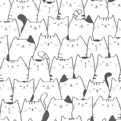 Wall mural Vector seamless pattern with cute cats. Doodle art. Cat seamless hand drawn background