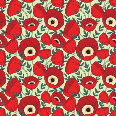 Wall mural Vector seamless pattern with poppies. Floral background