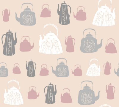 Wall mural Vector seamless pattern with vintage kettles and teapots.