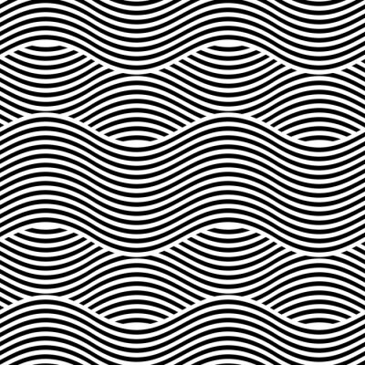 Wall mural Vector seamless texture. Modern geometric background. Repeating pattern with wavy lines.
