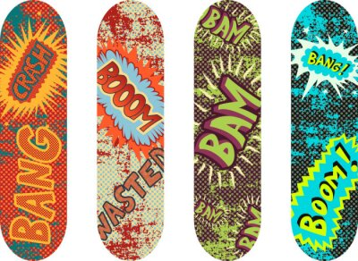 Wall mural Vector skateboard design pack with cartoon style effects
