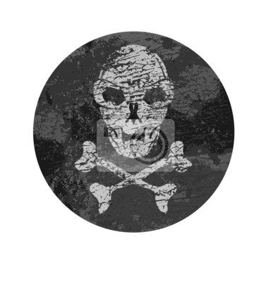 vector skull badge with grunge textures