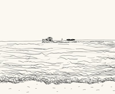 Wall mural Vector summer seascape sketch. Seaside view and beach