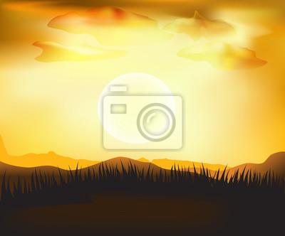 vector sunset  landscape background