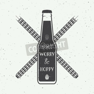 Wall mural Vector vintage beer logo with hand lettering fun motivation quote