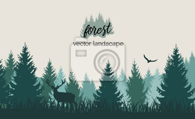 Wall mural Vector vintage forest landscape with blue and grees silhouettes of trees and wild animals