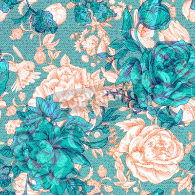 Wall mural Vector vintage pattern with roses and peonies. Retro floral wallpaper, colorful backdrop