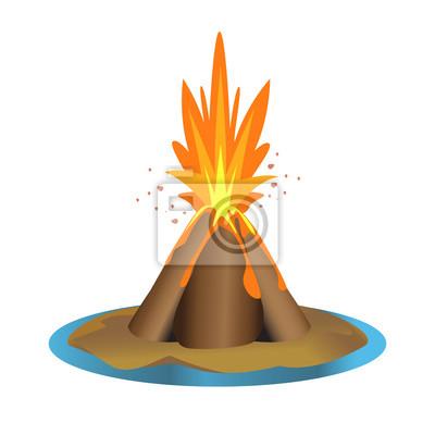 vector volcano illustration