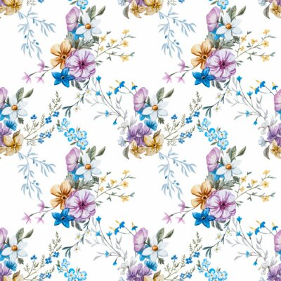 Wall mural Vector watercolor floral pattern