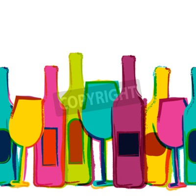 Wall mural Vector watercolor seamless background, colorful wine bottles and glasses. Concept for bar menu, party, alcohol drinks, holidays, wine list, flyer, brochure, poster, banner. Creative trendy design.