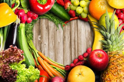 Wall mural Vegetables and Fruit Heart Shaped