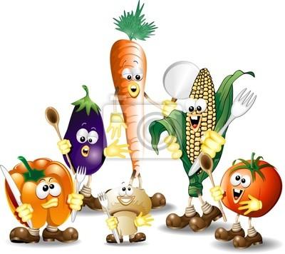 Verdure Miste Cartoon-Humorous Mixed Vegetables-Vector