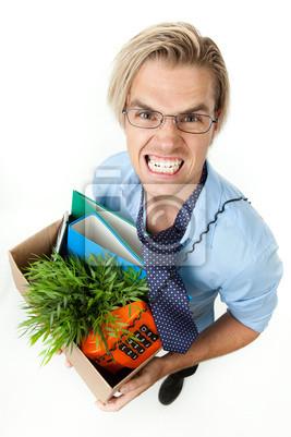 Verlust des Arbeitsplatzes Geschäftsmann zeigt Zähne