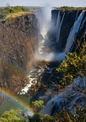 Wall mural Victoria Falls. A general view of a rainbow. National park. Mosi-oa-Tunya National park. and World Heritage Site. Zambiya. Zimbabwe. An excellent illustration.