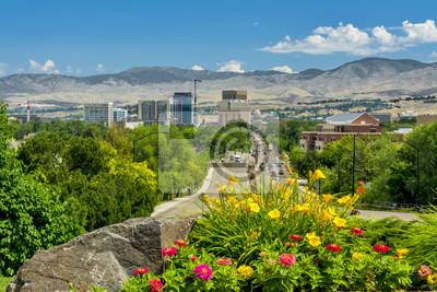 Wall mural View down a main steet of Boise Idaho Capital