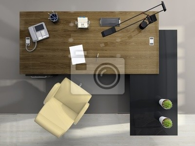 View from above of the modern office
