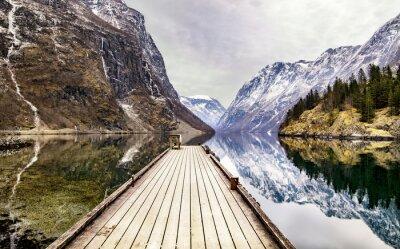 Wall mural view from Gudvangen village towards fjord, Norway