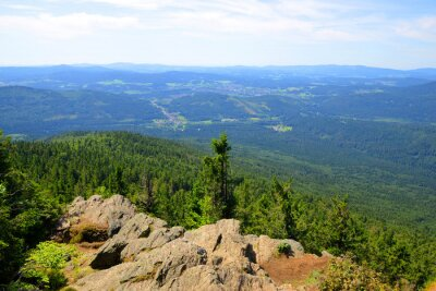 View from the summit of a mount Grosser Falkenstein in the National park Bayerische Wald, Germany.