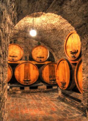 Wall mural View into an old wine cellar with large barrels through an arch
