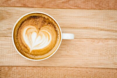 Wall mural View of a heart composed of coffee