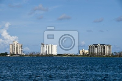 View of a series of high rise condos by the sea