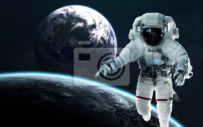 View of Earth planet from moon. Astronauts in space. Elements of this image furnished by NASA