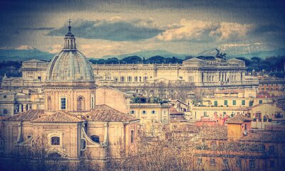 Wall mural View of Rome. Retro toned photo