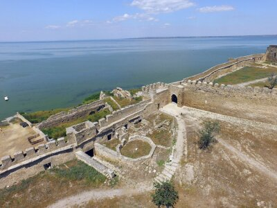 View of the Akkerman fortress from the drone which is on the bank of the Dniester estuary, in Odessa region