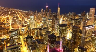 View to Downtown Chicago / USA from high above at twilight