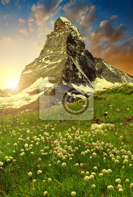 Views of the Matterhorn at sunset - Swiss Alps