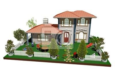 Villa Antica con Giardino-Old Big House-3d